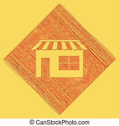 Store sign illustration. Vector. Red scribble icon obtained as a result of subtraction rhomb and path. Royal yellow background.