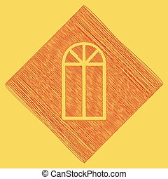 Window simple sign. Vector. Red scribble icon obtained as a result of subtraction rhomb and path. Royal yellow background.