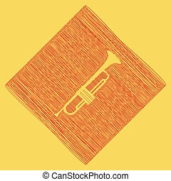 Musical instrument Trumpet sign. Vector. Red scribble icon...