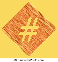 Hashtag sign illustration. Vector. Red scribble icon...