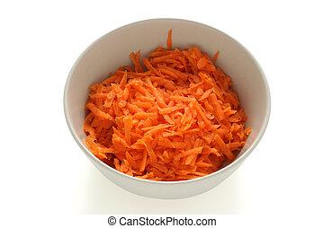 cut carrot in bowl