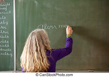 Writing on the board - Teacher writing something on the...