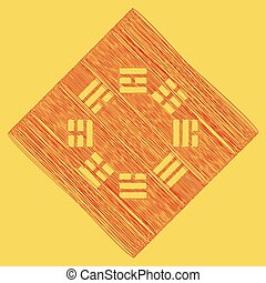 Bagua sign. Vector. Red scribble icon obtained as a result...