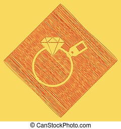 Diamond sign with tag. Vector. Red scribble icon obtained as a result of subtraction rhomb and path. Royal yellow background.