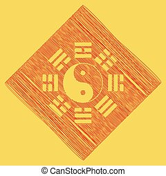 Yin and yang sign with bagua arrangement. Vector. Red...
