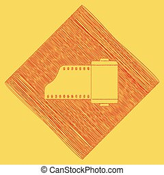 Old photo camera casset sign. Vector. Red scribble icon...