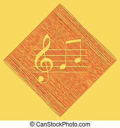 Music violin clef sign. G-clef and notes G, H. Vector. Red scribble icon obtained as a result of subtraction rhomb and path. Royal yellow background.