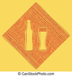 Beer bottle sign. Vector. Red scribble icon obtained as a result of subtraction rhomb and path. Royal yellow background.