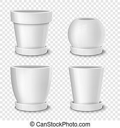 Realistic vector white empty flower pot with plate set. Closeup isolated on transparent background. Design template for branding, mockup. EPS10.
