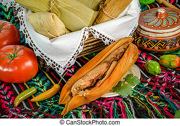 Mexican tamales made of corn and chicken - Tamales, Mexican...