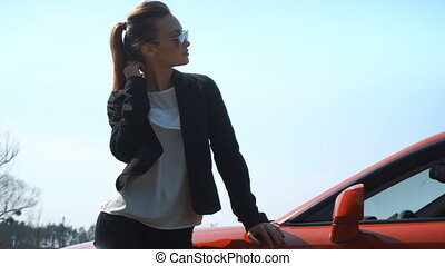 stylish beautiful girl standing near a car - stylish...