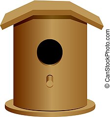 Universal wooden bird house for different species of...