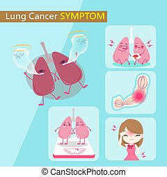 lung cancer symptom - lung and cancer symptom with healthy...