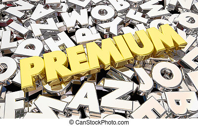 Premium Highest Level Top Product Best Offer Word 3d Illustration