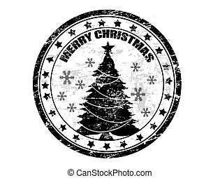 Christmas stamp - Black grunge Christmas stamp with the text...