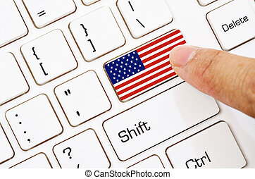 Hand press Computer keyboard with the US flag.
