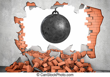 3d rendering of a large black wrecking ball hanging in a hole made in a brick wall with many bricks lying around.