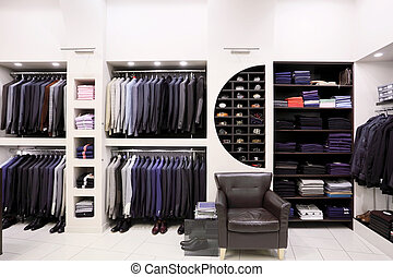 Stylish men's clothes in shop - Luxury men's clothes and...