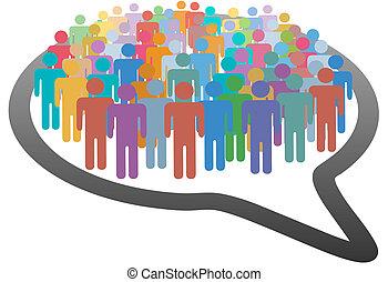 torcida, social, Mídia, pessoas, fala, bolha, rede