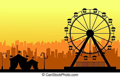 At sunset amusement park scenery silhouette