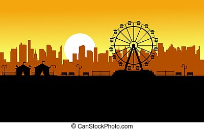 Silhouette amusement park scenery for kid