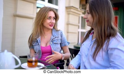 Two cheerful women talk in a cafe - Two cheerful women talk...