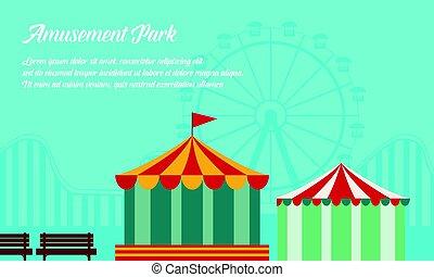 Amusement park background vector flat