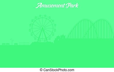 Silhouette of amusement park landscape