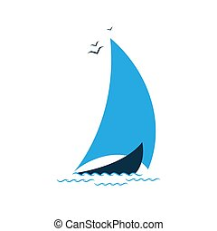 Sailboat in the sea. Logo for the tourist company