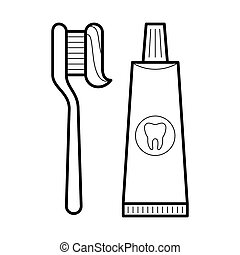 Toothpaste and brush icon,  illustration