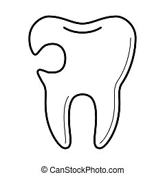 Tooth with cavity icon,  illustration