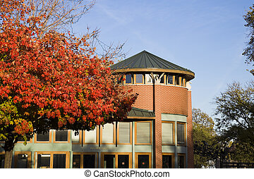 Lincoln Park Zoo building in fall scenery