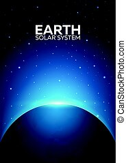 Poster Planet Earth and Solar System. Space background. -...