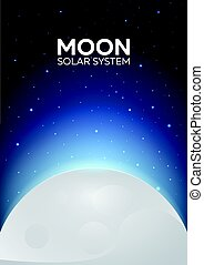 Poster Moon and Solar System. Space background. - Poster...
