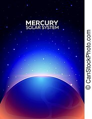 Poster Planet Mercury and Solar System. Space background. -...