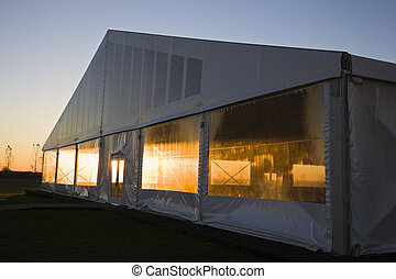 Exhibition tent during sunrise