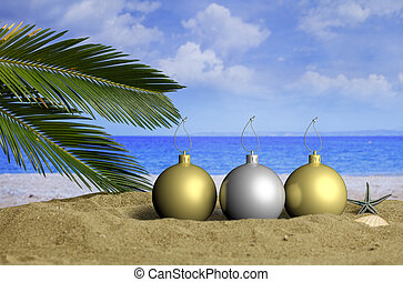 Christmas beach vacation concept. 3d illustration -...