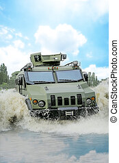 armored troop-carrier in water - armored infantry car in...