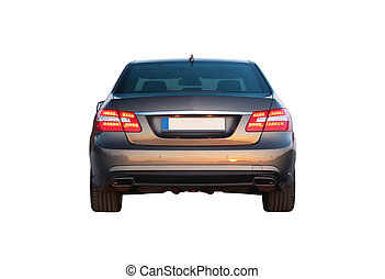 Luxury car isolated over white back view