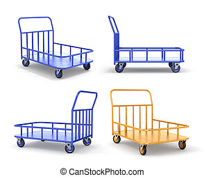 Set of transport cart. Industrial trolleys. 3d illustration