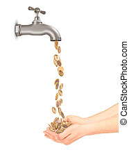 Coins fall from the tap into hands
