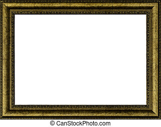 Antique golden frame isolated on white with clipping path
