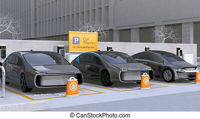 Electric cars in car sharing parking lot. Autonomous cars'...