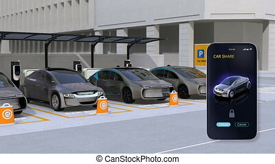 Unlock sharing car doors by smartphone app. Autonomous car...