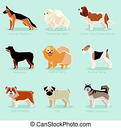 Dog flat icons set - Vector image of the set of dogs flat...