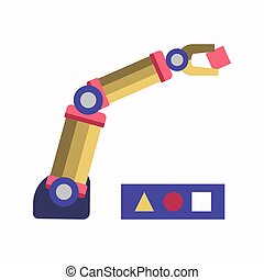 Robotic arm solving puzzle - Vector illustration of robotic...