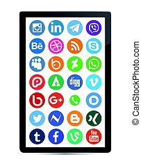 Social media icon collection with mobile