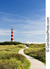 lighthouse - classic lighthouse in red and white at Dutch...