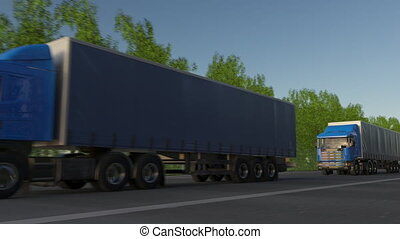 Freight semi trucks convoy. Road cargo transportation. Seamless loop 4K clip