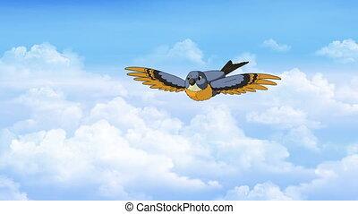 Bird in Flight. Front View - Little bird flies in the...